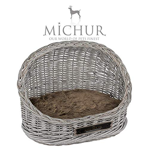 MICHUR Oli, Katzenhöhle, Hundehöhle, Katzenkorb, Hundekorb, WEIDE, Rattan, Natur, ca. 55x338x40cm (Liegefläche ca. 50x35cm), Katzenkorb aus Weide Grau Katze