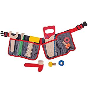 Bigjigs Toys Red Carpenter's Tool Belt with Wooden Tools