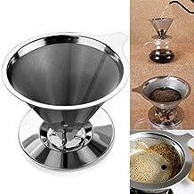Joybuy Filtro de café reutilizable de cestas de malla de acero inoxidable colador goteo de café