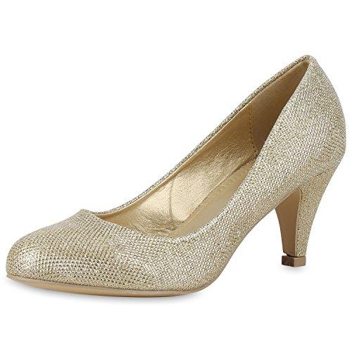 Klassische Damen Pumps Strass Glitzer Party Metallic Stilettos Hochzeit Abiball Abendschuhe Gold Gold