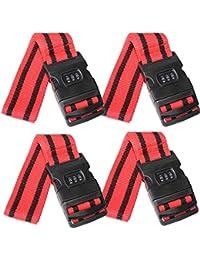 SEPOX - Correas de equipaje para maleta, cinturones de viaje, 175 cm, 2/4 piezas, iridiscentes, rojo, verde, negro, rosa, camuflaje