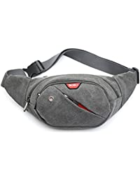 Buyworld Canvas Waist Bags Men Fanny Pack Waterproof Belt Bag Women Money Phone Handy Waist Pack Solid Travel...