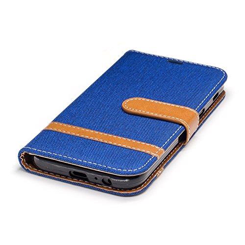 Custodia Galaxy A5 2017, ISAKEN Flip Cover per Samsung Galaxy A5 2017 con Strap, Elegante Bookstyle Contrasto Collare PU Pelle Case Cover Protettiva Flip Portafoglio Custodia Protezione Caso con Suppo Marrone+blu