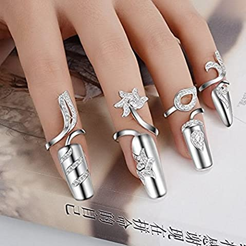 KaLaiXing Rhinestone Finger Tip Nail Ring, 4 Sizes Alloy+Rhinestone Dragonfly Design Fashion Ladies Girls Rhinestone Finger Tip Nail Rings Nail Art Decoration Nail