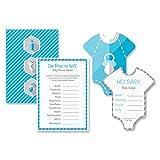 Babyparty Baby Shower Komplettset 16 Stück Spiel-Set S junge blau Partyspiel Quiz Spiel...