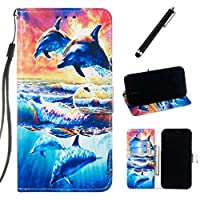 Beddouuk Compatible with Samsung Galaxy A40 Case,Creative 3D Premium Leather Flip Cover Kickstand Card Slots Wallet Case Folio Notebook Case for Galaxy A40-Dolphin