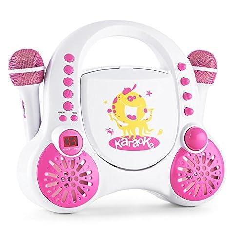 auna RockPocket Lecteur CD karaoké enfant (2 microphones, entrée AUX, écran LCD, haut-parleurs, lecture en boucle et aléatoire, set d'autocollants pour personnalisation) - blanc