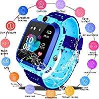 Kids Smartwatch Phone, WiFi+GPS+LBS Real Time Positioning Watch Waterproof Smart Watch for Kids 3-14 with SOS Anti-Lost Sim Card Smartwatch with Camera Birthday Gift for Boys Girls (Blue)