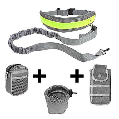 Ploopy Joggingleine aus Nylon für Sportliche Hundebesitzer mit Verstellbarem Bauchgurt. Für Stressfreies Joggen mit Dem Hund, Hände Bleiben Frei Jogging Hundeleine und 3 Tasche Grau