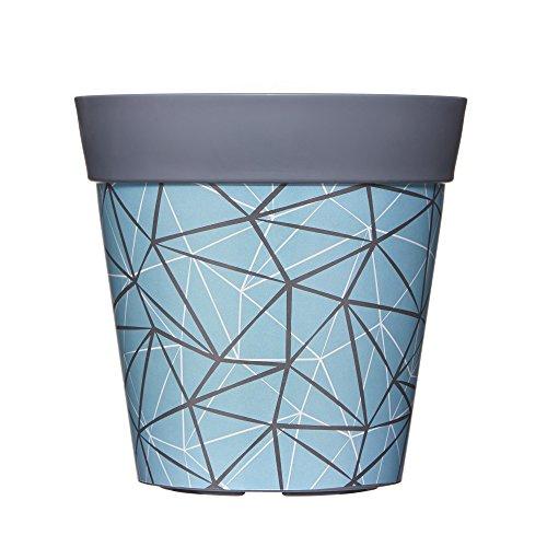 22cm Geometrie Design Blumentopf Pflanzkübel in Blau & Grau aus Plastik 5L by Hum - einzeln oder als Set erhältlich (Einzelne Grau)