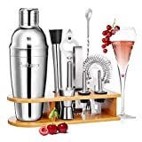 Baban set cocktail 10 pezzi,kit barman,Shaker per Cocktail 750ML set cocktail professionale,Compreso Squisita cornice in legno;Shaker per Cocktail;completo Set di Regalo