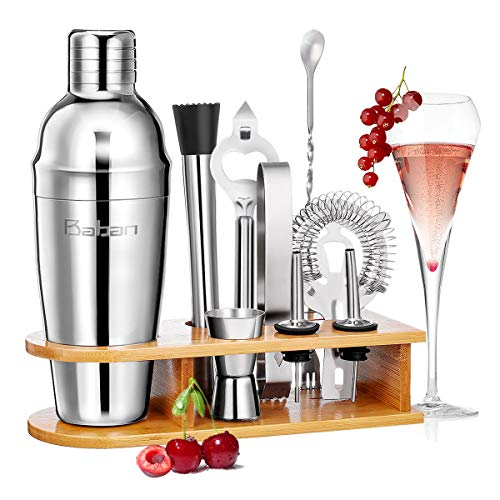 Baban Cocktail Shaker Set, 10tlg Cocktail Set, Bartending Set mit Bambus-Aufbewahrung, Cocktailzubehör 750ml Shaker, Geschenk für Männer und Frauen