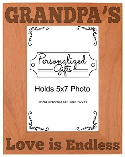 Väter Tag Geschenk Grandpas Liebe Endless natur Holz Gravur Bilderrahmen, holz, holz, Vertical 5x7 (Familie Bilderrahmen 5x7)