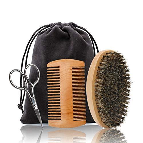 Barbe Kit de toilettage pour les hommes de soins, leegoal bambou barbe peigne et brosse kit à la main barbe brosse cadeau Set pour les hommes barbe & moustache soins, pour homme toilettage