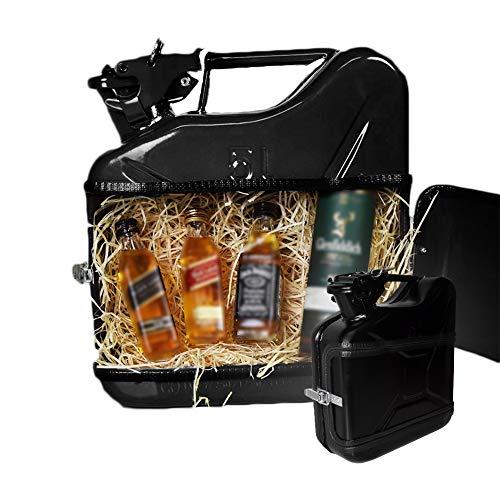 MikaMax - Jerrycan Whiskeybar 5L - Kanister Minibar - Mobile Bar - 5L -Schwarz - Metall - 24.5 x 9.5 x 28 cm - Geschenke für Männer - Whisky Geschenkset