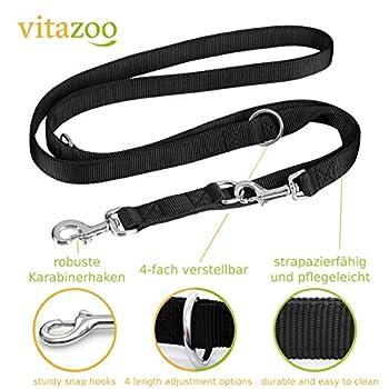 VITAZOO laisse éducative pour chien en noir graphite, solide et réglable en 4 longueurs ( 1,1 m - 2,1 m ) | 2 ans de garantie de satisfaction | laisse pour chien, double laisse, tressée, laisse en corde, laisse réglable