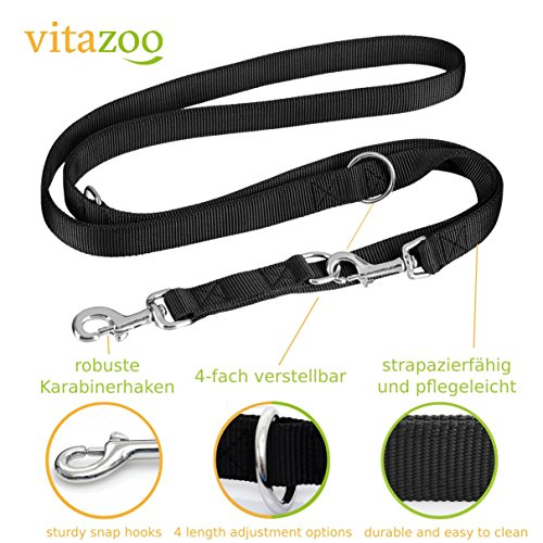 VITAZOO-Premium-Dog-Lead-in-graphite-black-nylon-with-4-length-adjustment-options-and-a-swivel-hook-14-m-21-m-2-Year-Satisfaction-Guarantee-braided-double-dog-leash-for-small-and-large-dogs-with-stron