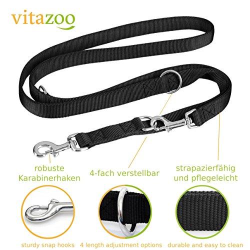 VITAZOO Premium Hundeleine in Graphitschwarz, massiv und verstellbar in 4 Längen (1,4 m – 2,1 m), für große und kräftige Hunde | Hundeführleine, Doppelleine, geflochten mit 2 Jahren Zufriedenheitsgarantie - 2