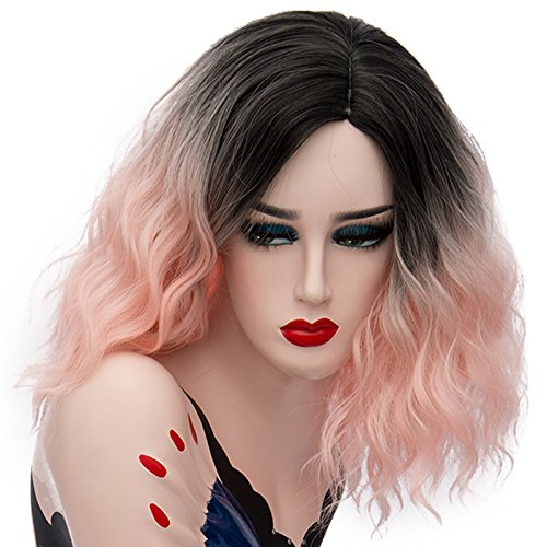 Labeaute U Power68 Cosplay Anime Perruque Courte Boucles Wave Femme Omber Fonce Racines Cheveux Perruques