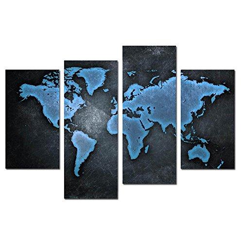 LK4074pezzi tela olio pittura mappa del mondo Wall Art Decor
