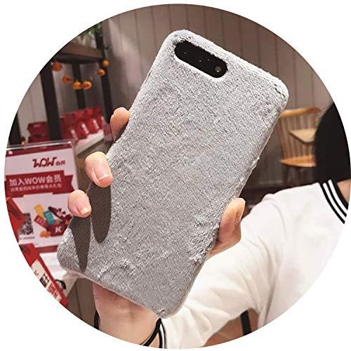 Villus Fur Handyhülle für iPhone XS Max XR X Cover Hard Smooth Plüsch Hüllen für iPhone 8 Plus 6 6S 7 Plus, Grau für iPhone X (Iphone 6 Plus Case Louis Vuitton)