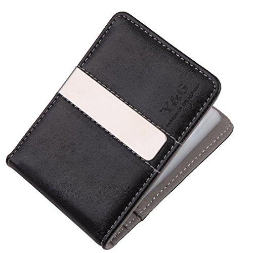 YCC1005 Graue schwarze lederne Mappe Geld-Klipp 15 Kartenhalter-Entwerfer f¨¹r Mens-vollkommene Wirtschaft-Geschenke durch Y&G (Bekleidung Geschenkgutscheine)