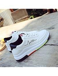 Zapatos blancos pequeños para mujer, de estilo coreano, de suela gruesa, para estudiantes, deportivos, informales, color negro