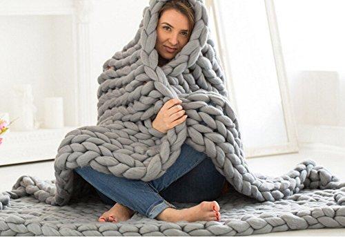 RAIN QUEEN Decke Handgefertigt Riese Klobig Sticken Werfen Sofa Decke Handgewebt Sperrig Decke Zuhause Dekor Geschenk (120*150CM, Grau)