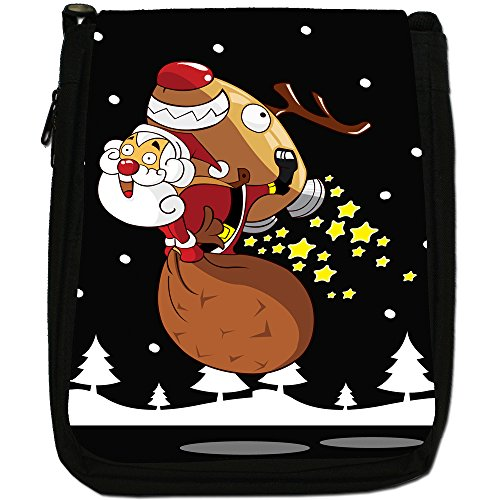 Renne di Babbo Natale Fun & Frolics Medium Nero Borsa In Tela, taglia M Santa In Sky Rocket Reindeer