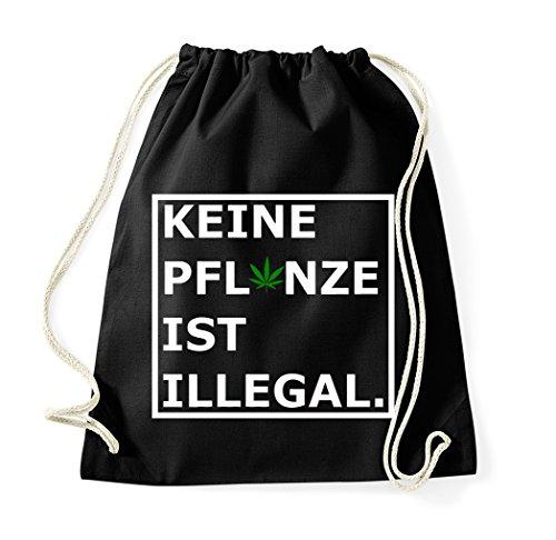 TRVPPY Turnbeutel mit Spruch/Modell Keine Pflanze ist illegal/viele verschiedene Farben/Beutel Rucksack Jutebeutel Sportbeutel Fashion Hipster