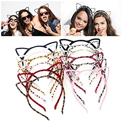 UNOMOR Cat Ears Headbands Set for Cat Birthday Party Favours and Daily Accessories