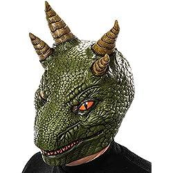 Carnival Toys - Máscara de látex dragón con encabezado, color verde (785)