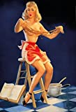 ComCard Pinup/Pin up sexy Frau mit Nudeln Erotik Schild aus Blech, metallsign, Tin