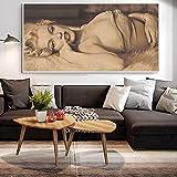 Chihie Poster e Stampe su Tela Quadri e Quadri su Tela Sexy Ritratto di Donna Mezza Nuda Immagine per Soggiorno 30x60 cm Senza Cornice