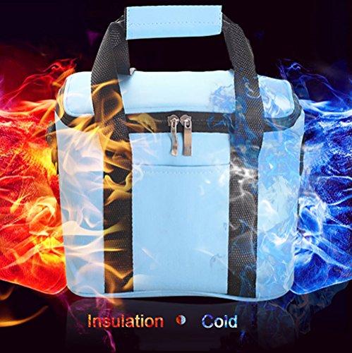 kikigoal Oxford Cloth Ice Pack Confezione di isolamento freddo facile da trasportare di Picnic Borsa a righe del Pranzo del Pranzo blu cielo nero