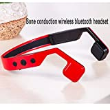 LKJCZ Knochenleitung Bluetooth Headset, Ultradünne Bluetooth V4.2 Headset Wasserdichtes Drahtloses Sportkopfhörer Eingebautes Mikrofon Schweißproof iPhone, Android, Andere Bluetooth-Fähige Geräte,Red