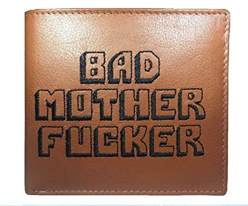 Bad Mother Fucker Geldbeutel / Geldbörse / Ledergeldbeutel / Ledergeldbörse / Brieftasche - Hellbraun - Tan brown 100% leather wallet