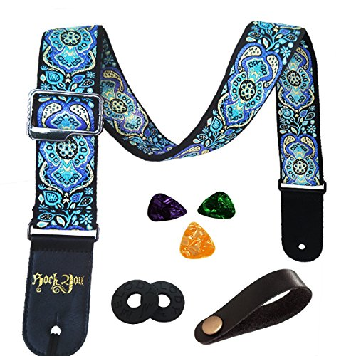 Gitarrengurt Vintager gesponnener Art-justierbarer akustischer elektrischer Gitarren-Baß-Bügel mit Lederenden, Plektren, Strap Bundle, Knopf (blue1)