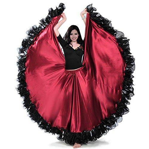 Dreamowl Damen Frau Spanisch Bauchtanz-Kleid Adult Rot Schwarz Flaco Tanz-Kostüm 720 grad rot (Spanischer Tanz Kostüm)