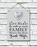 Anker Photo/Picture Frame Wooden Plaque with Metal Heart, Wood, Brown, 20 x 15 x 10 cm