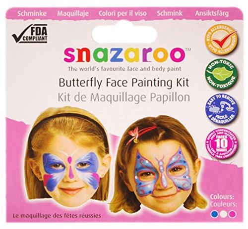 Fancy Ole - Kinder Erwachsene Schmetterling Schmink Set, 3 x 2 ml, Rosa-Weiß-Violett (Frankenstein Kostüme Schrauben)