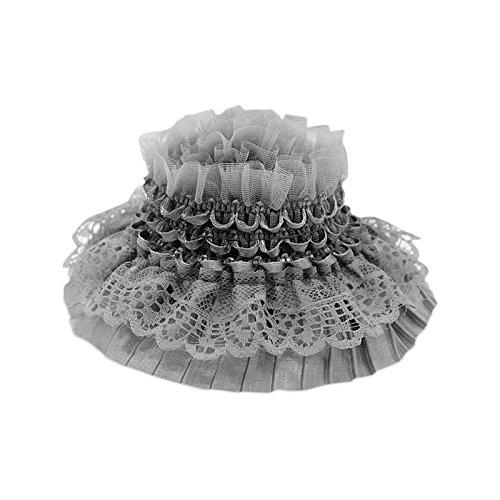 Elastische Spitze Trim für DIY Craft Nähen Decor Bridal Hochzeit 5Meter 8cm breite grau -