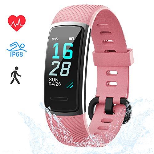 LIFEBEE Fitness Armband, Fitness Tracker mit Pulsmesser Smartwatch Wasserdicht IP68 Fitness Uhr sportuhr Aktivitätstracker, Damen Herren 0.96 Zoll Schrittzähler Smart Watch Uhr für Android iOS (Rosa)