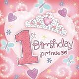 """36 serviettes de table en papier rose Princess Tiara 1er anniversaire fille """"1st Birthday"""""""