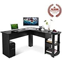 Ej. Life L-Shaped Office Computer Desk, Large Corner PC Table 2 Shelves Home Office Use, Black Wood Grain
