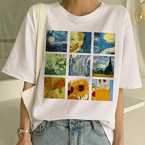 DFDONG Damen T-Shirt Van Gogh T-Shirt Kunst Malerei T-Shirt Frauen Lustige Print Kurzarm T-Shirt Harajuku T-Shirt Mode Top Tees Weiblich @ XXL