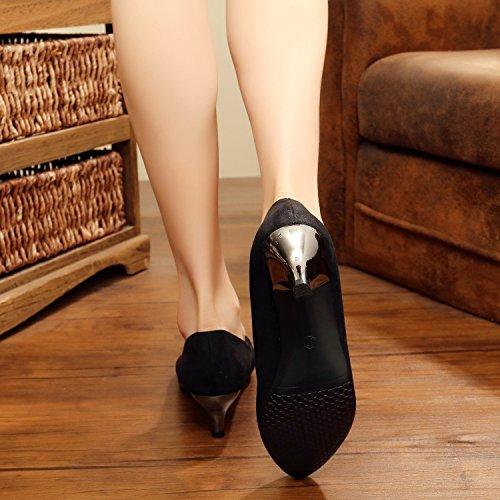 Svelte Femme De En black De Chaussures Talon Daim Chaussures À Cuir Main KHSKX Brodé La Unique Brodé XngqBx4w