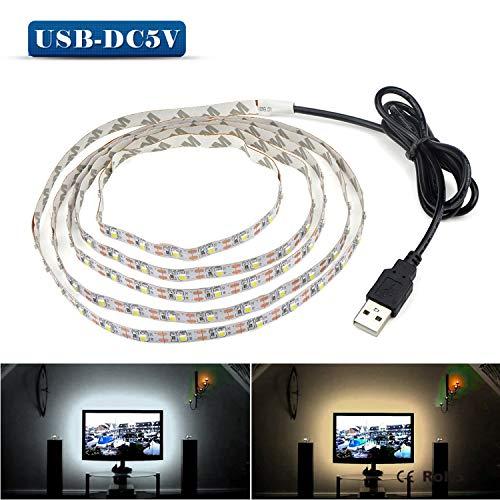 LED-Lichtband, 5 V, 50 cm, 1 m, 2 m, 3 m, 4 m, 5 m, USB-Kabel, SMD 3528, Weihnachtsdekoration, Tischdekoration, für TV-Hintergrundbeleuchtung Warm White 2m