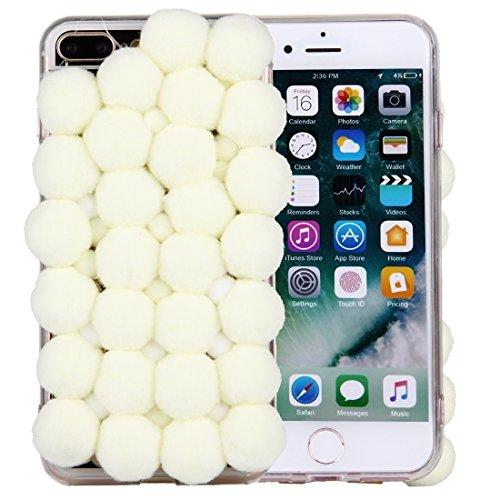 Hülle für iPhone 7 plus , Schutzhülle Für iPhone 7 Plus 3D Pelz Bälle Muster TPU Schutzhülle ,hülle für iPhone 7 plus , case for iphone 7 plus ( Color : Beige ) Beige