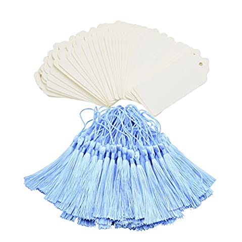 Makhry 100Pcs Imported Vintage Hard Kraft Paper Bookmarks Paper Gift Tags Wedding Favor Bonbonniere Favor with Handmade Silky Tassels (White&Sky blue)